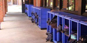 School with locker cabinets